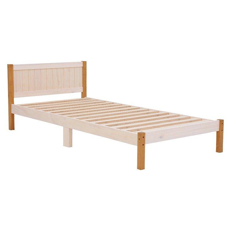 木製シングルベッド ヘッドボード付 マットレス、敷き布団両用タイプ すのこ床板 ウォッシュホワイトブラウン色
