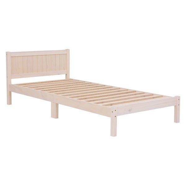 木製シングルベッド ヘッドボード付 マットレス、敷き布団両用タイプ すのこ床板 ウォッシュホワイト色(木目のある白色)