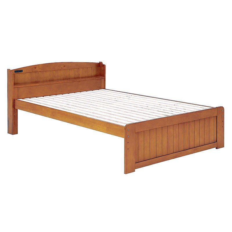 木製ダブルベッド ヘッドボード付 床面高さ3段階 すのこ床板 ブラウン色
