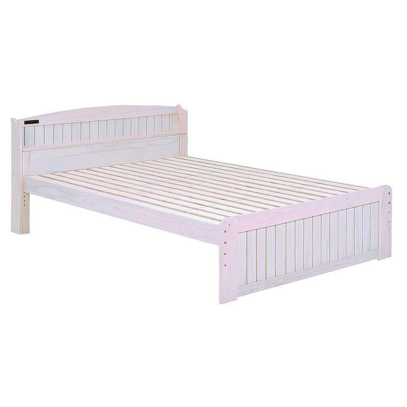 木製シングルベッド ヘッドボード付 床面高さ3段階 すのこ床板 ウォッシュホワイト色(木目のある白色)