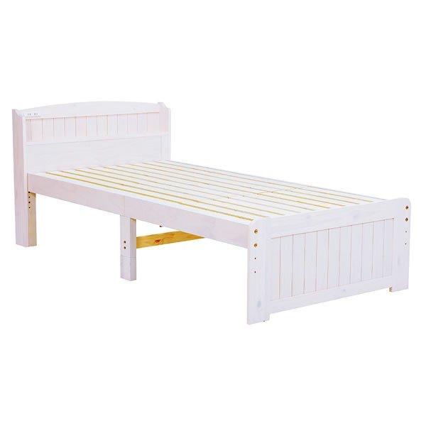 木製セミダブルベッド ヘッドボード付 床面高さ2段階 すのこ床板 ウォッシュホワイト色(木目のある白色)