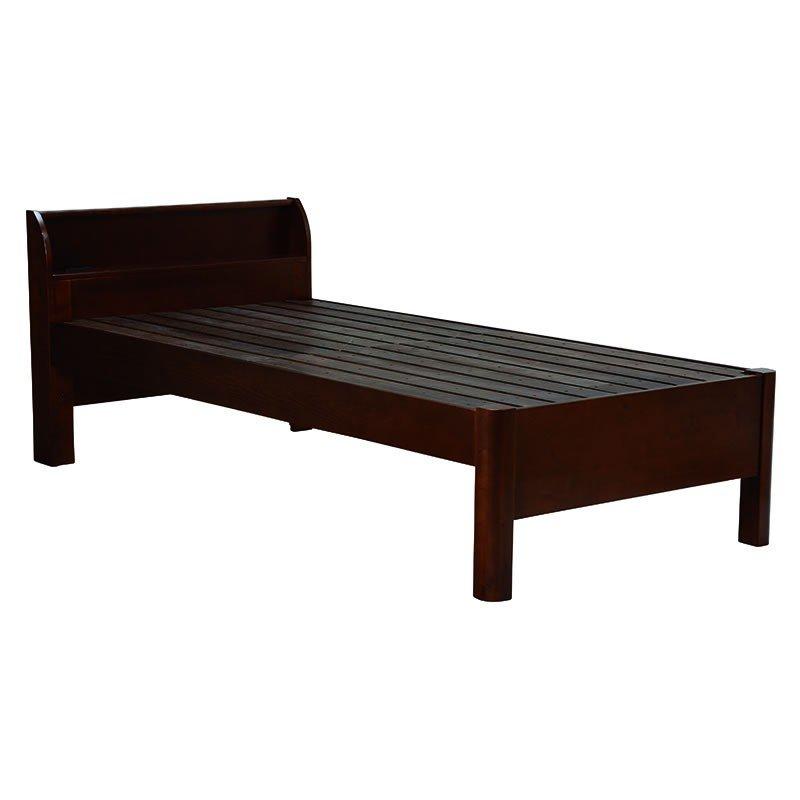 木製シングルベッド ヘッドボード付 床面高さ3段階 すのこ床板 ダークブラウン色