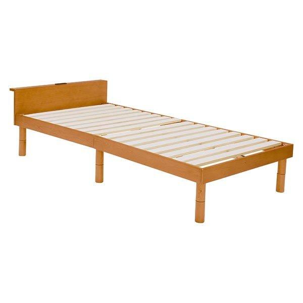 木製シングルベッド ヘッドボード付 すのこ床板 床面高さ3段階 シンプルスタイル ライトブラウン色