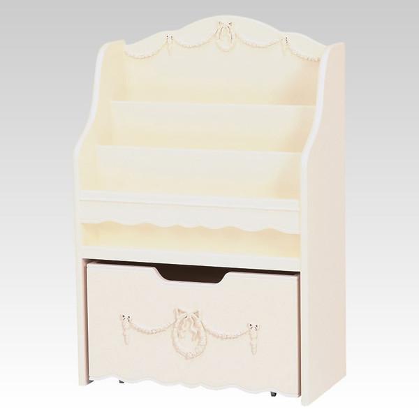 ホワイト絵本ラック 60センチ幅 優美な白色 アンティーク風 ロココ調デザイン 彫刻入り 完成品