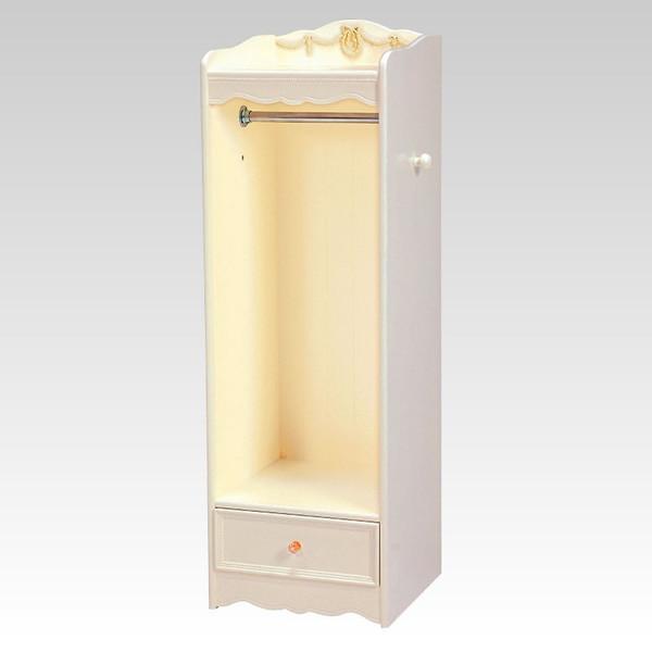 ホワイトハンガーラック 45センチ幅 優美な白色 アンティーク風 ロココ調デザイン 彫刻入り 完成品
