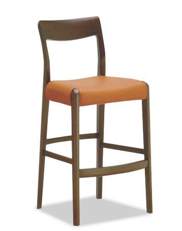 カウンターチェアー 合成皮革張り カフェブラウン色 座面張り生地8色対応
