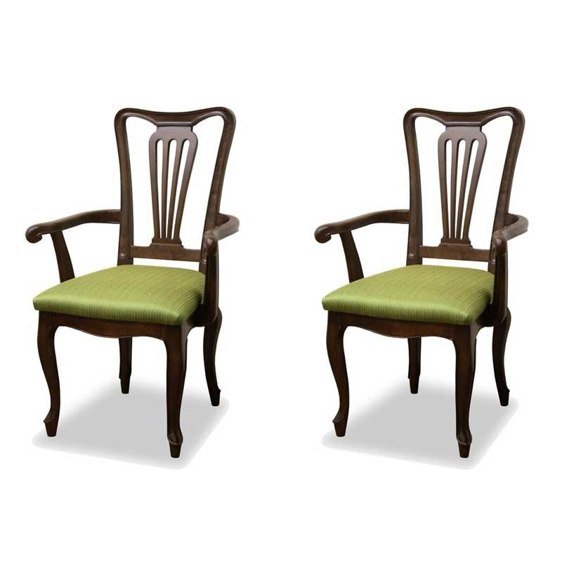 ダイニングチェア 食卓椅子 ケントハウスアームチェアG 2脚セット グリーン色 ブリティッシュクラシックデザイン アンティークテイスト