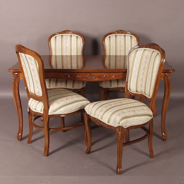 猫脚ダイニングセット 135センチ幅 ブラウン色食卓セット グリーン色ストライプ柄椅子4脚付き アンティーク風 ロココ調デザイン 彫刻入り
