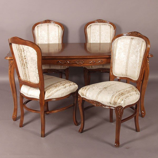 猫脚ダイニングセット 135センチ幅 ブラウン色食卓セット ベージュ色ストライプ柄椅子4脚付き アンティーク風 ロココ調デザイン 彫刻入り