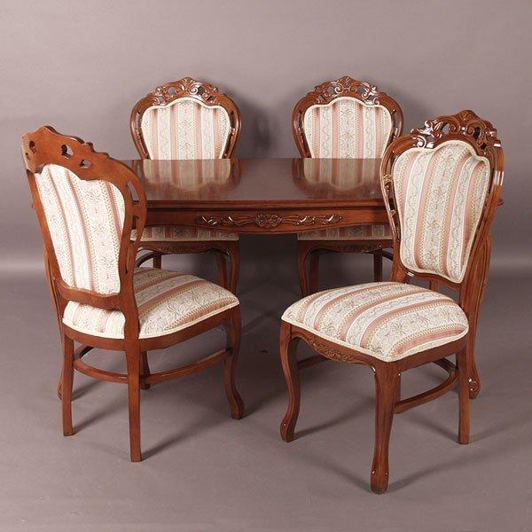 猫脚ダイニングセット 135センチ幅 ブラウン色食卓セット ローズ色ストライプ柄椅子4脚付き アンティーク風 ロココ調デザイン 彫刻入り