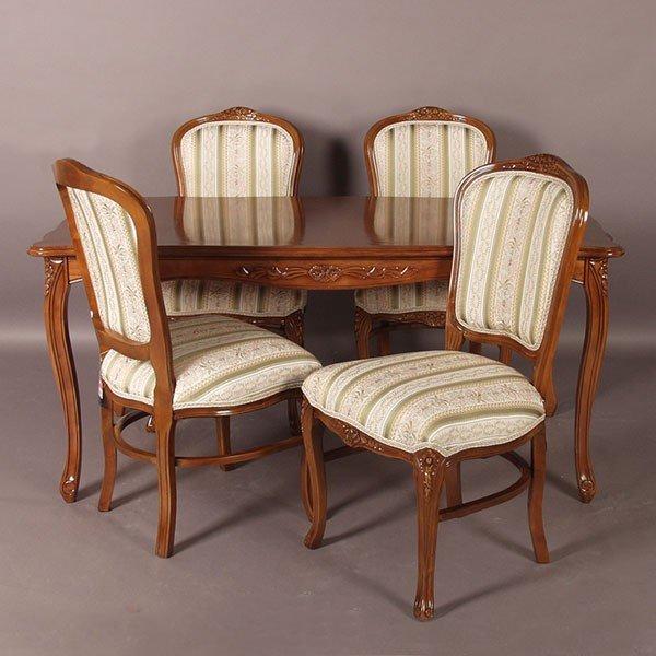 猫脚ダイニングセット ブラウン色食卓セット 150センチ幅 グリーン色ストライプ柄椅子4脚付き アンティーク風 ロココ調デザイン 彫刻入り