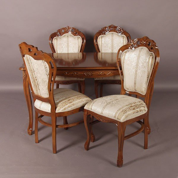 猫脚ダイニングセット ブラウン色食卓セット 150センチ幅 ベージュ色ストライプ柄椅子4脚付き アンティーク風 ロココ調デザイン 彫刻入り