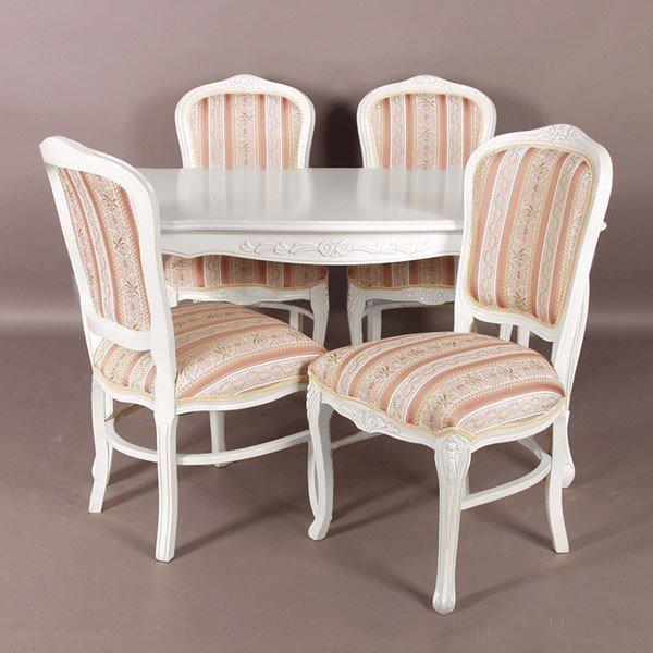 猫脚ホワイトダイニングセット 白色食卓セット ローズ色ストライプ柄椅子4脚付き 135センチ幅 アンティーク風 ロココ調デザイン 彫刻入り