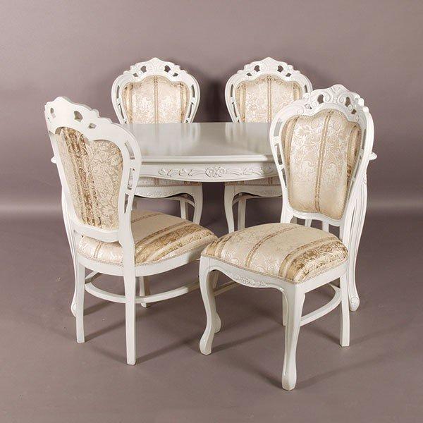 猫脚ホワイトダイニングセット 白色食卓セット 150センチ幅 ベージュ色ストライプ柄椅子4脚付き アンティーク風 ロココ調デザイン 彫刻入り