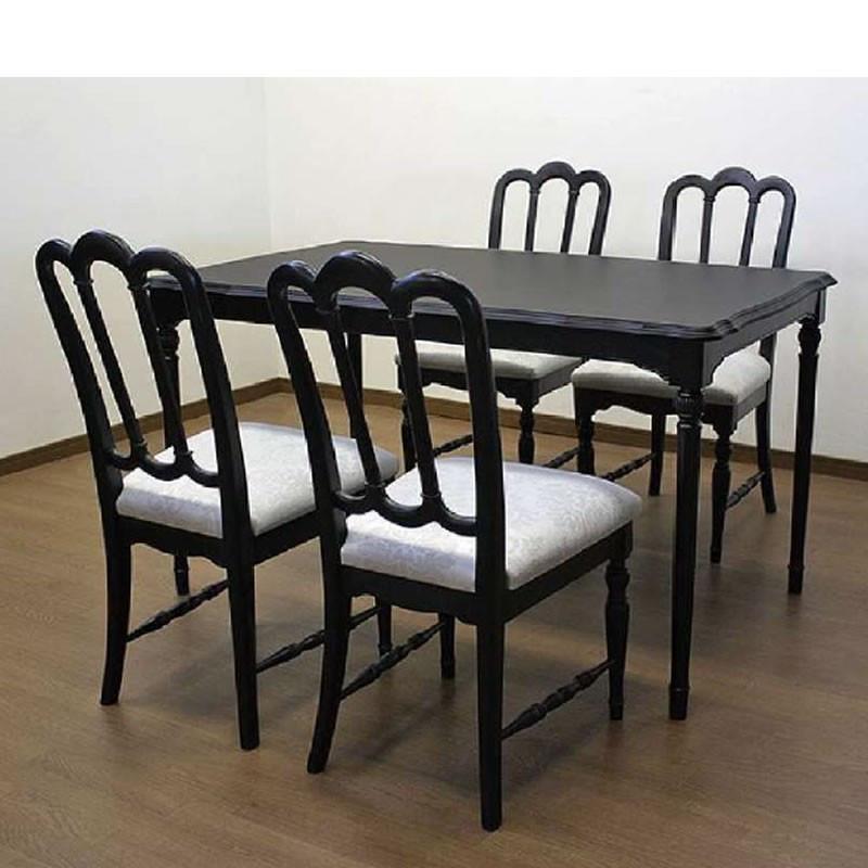 ダイニングセット 130巾テーブル、椅子付き5点セット ノワールDT130セット 伝統的ヨーロピアンエレガントデザイン