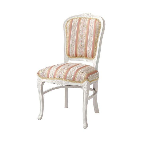 猫脚ホワイトダイニングチェア ローズ色ストライプ柄椅子 アンティーク風 ロココ調デザイン 彫刻入り