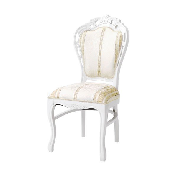 猫脚ホワイトダイニングチェア ベージュ色ストライプ柄椅子 アンティーク風 ロココ調デザイン 彫刻入り