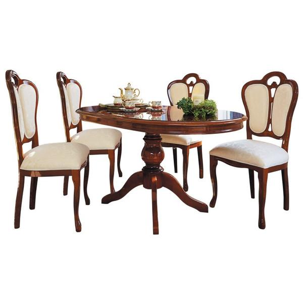 ダイニングセット イタリア製 サルタレッリモビリ フローレンスコレクション 145巾テーブル(ブラウン)+椅子(ブラウン/ベージュ)4脚 5点セット お部屋に搬入、組立、設置いたします(吊上げなどは除きます)
