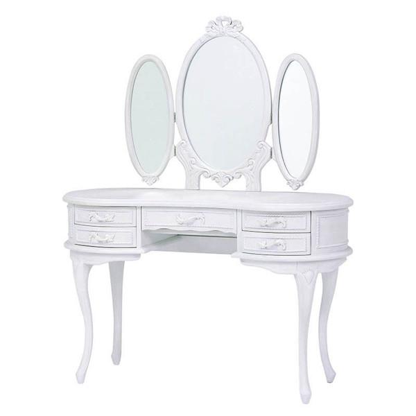 鏡台 三面ドレッサー ホワイト色三面鏡 ドレッシーなハンプトンスタイル
