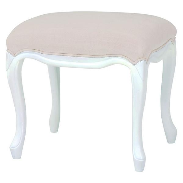 椅子 スツール ホワイト色ドレッシーな猫脚スツール 完成品