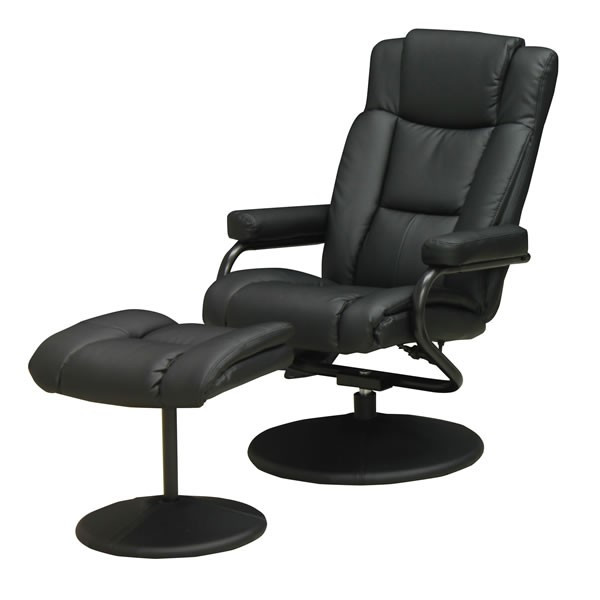 パーソナルチェアー イージーチェア  P-020 ブラック色(黒色) 合成皮革張りリクライニングチェアー オットマン(足置き)付き