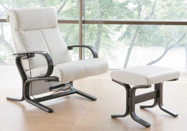 合成皮革張りパーソナルチェアー/イージーチェア―、オットマン(脚置き)付き 8色対応 国産品(日本製) 完成品