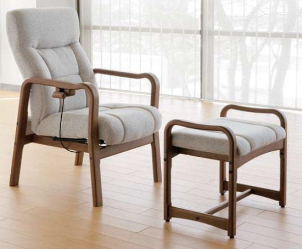 布張りパーソナルチェアー/イージーチェア―、オットマン(脚置き)付き 3色対応 国産品(日本製) 完成品