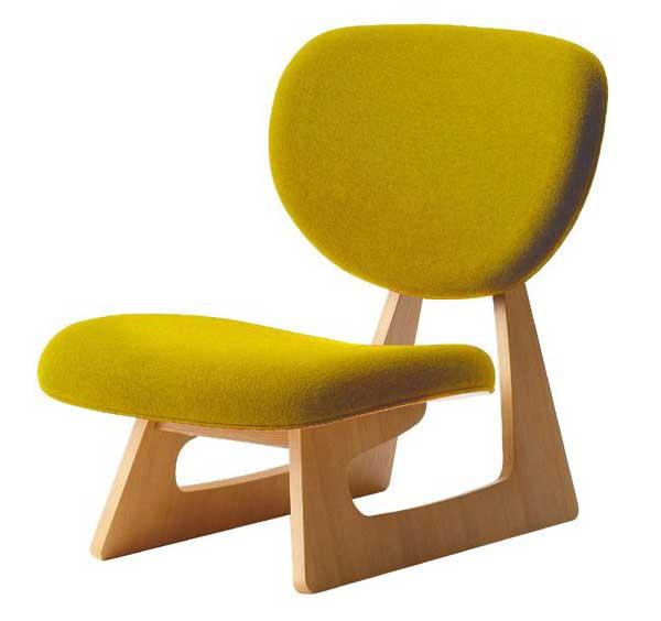 布張り座椅子 低座椅子 完成品 国産品(日本製) 天童木工 マスタード色 ザイス 座いす
