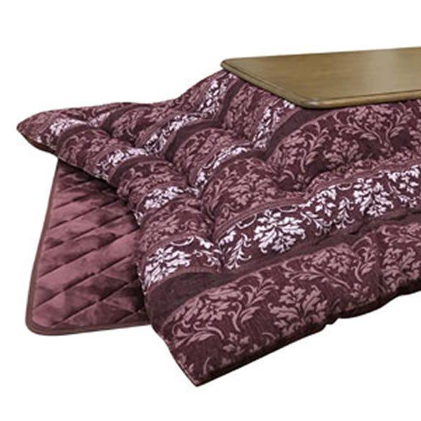 こたつ布団 厚掛け 正方形80~90巾コタツ用 アンジェラ205 RO(ローズ色) 正方形用コタツふとん(掛け敷きセット)