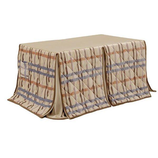 ハイタイプ/ダイニングこたつ布団 長方形150×90巾コタツ用 チェック柄150 高脚用薄掛け布団