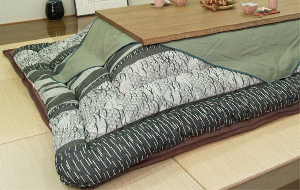長方形こたつ布団厚掛敷セット 180センチ巾こたつ用 織部焼風柄 ダークグリーン色