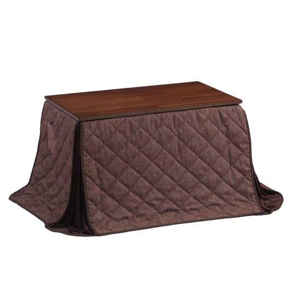 ダイニングこたつ布団 長方形105×60巾コタツ用 クラーク105 ブラウン色 ハイタイプ高脚用薄掛け布団