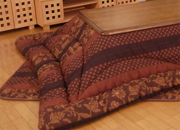 大判長方形こたつ布団厚掛ふとん(掛け単品) 150巾こたつ用 万葉 ブラウン色