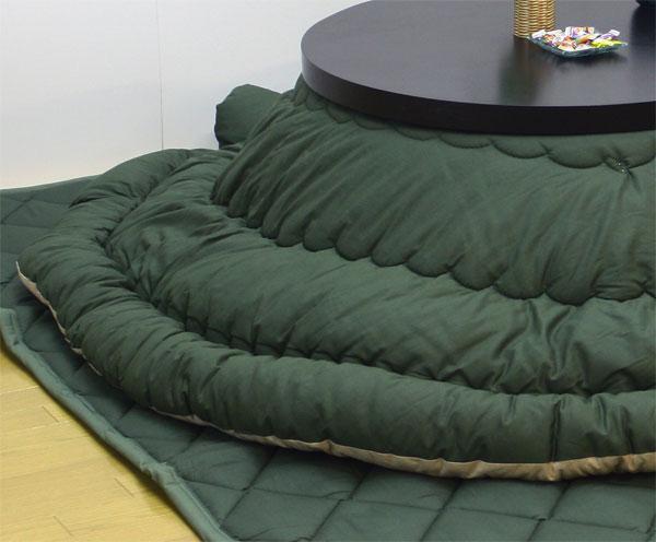 国産円形こたつ布団掛敷セット こたつサイズ110~120センチ丸用 国産無地グリーン色(緑色)