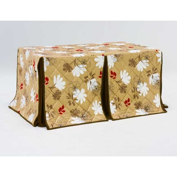 《あす楽対応》ハイタイプ/ダイニングこたつ布団 長方形135×80巾コタツ用 総植物柄135 高脚用薄掛け布団
