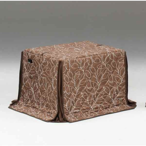 ハイタイプ/ダイニングこたつ布団 小型長方形90×75巾コタツ用 抽象的木の葉柄90×75 高脚用薄掛け布団