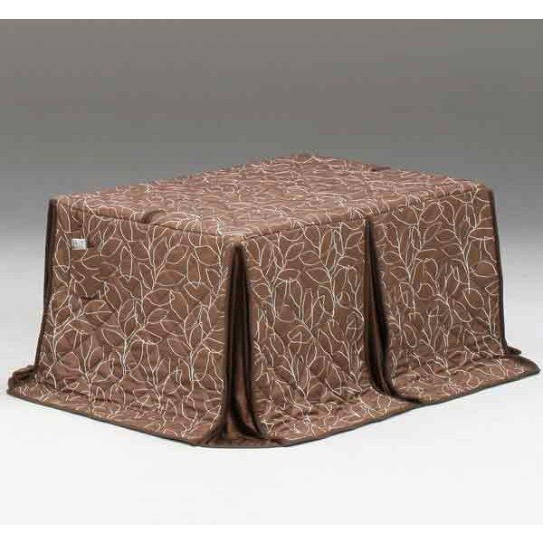 ハイタイプ/ダイニングこたつ布団 長方形135×85巾コタツ用 抽象的木の葉柄135 高脚用薄掛け布団