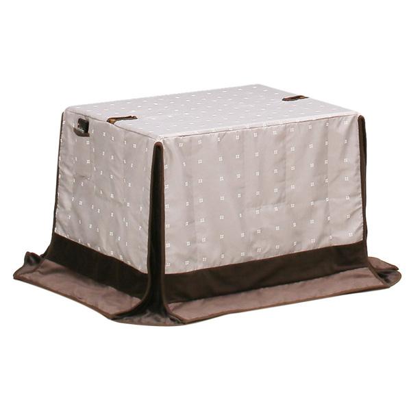 ハイタイプ/ダイニングこたつ布団 90×75巾小型長方形コタツ用 ドット柄90×75 高脚用薄掛け布団