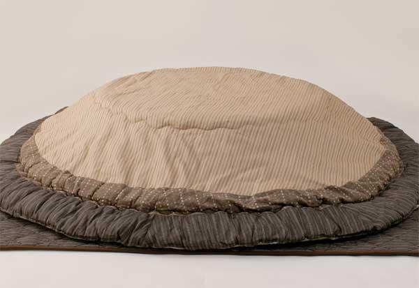 こたつ布団円形掛敷セット 100~120丸型こたつ用 ユカリ ベージュ色