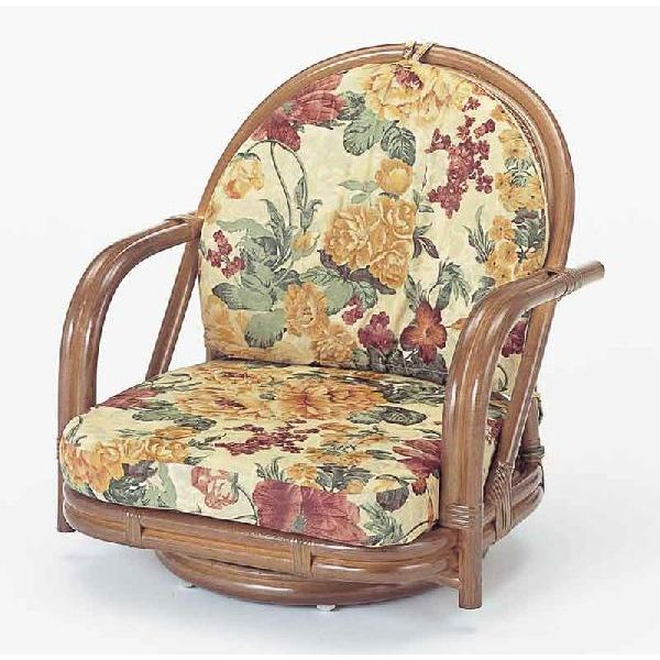 籐椅子 ラタンラウンドチェアーロータイプ回転式 S541B