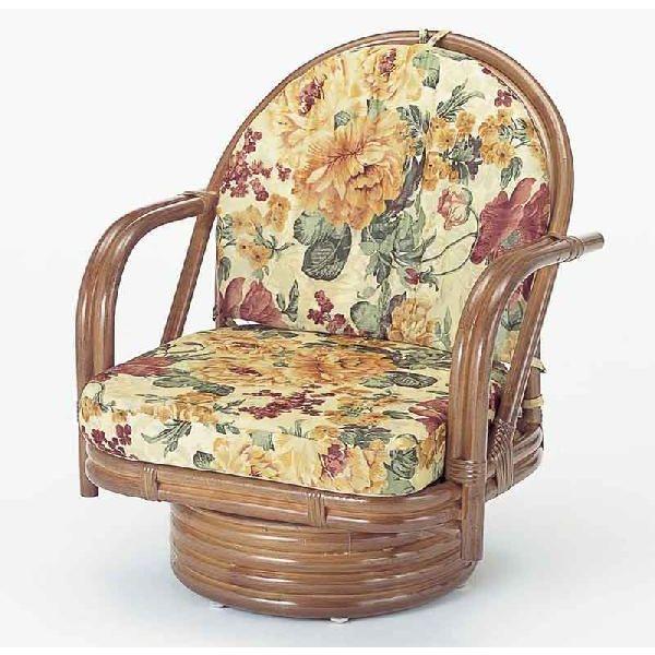籐椅子 ラタンラウンドチェアーミドルタイプ回転式 S542B