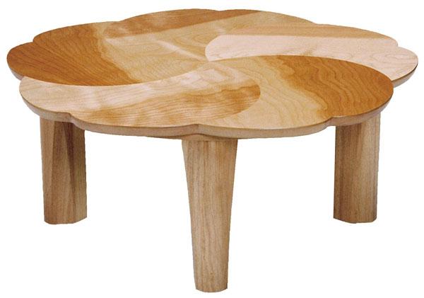 折れ脚花弁形家具調こたつ コタツテーブル 90センチ丸 チェリー ナチュラル色