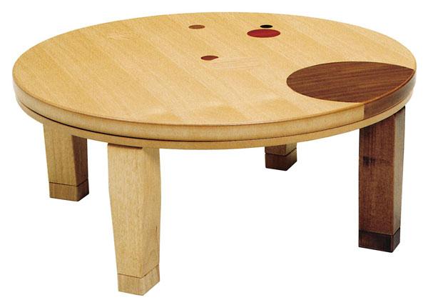 折れ脚円形家具調こたつ コタツテーブル 105センチ丸 ドット ナチュラル色