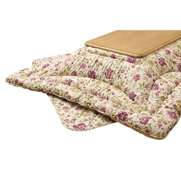 紫花柄こたつ布団 正方形コタツ用厚掛けふとん掛け敷きセット クレージュ ベージュ色 正方形80~90巾こたつ用