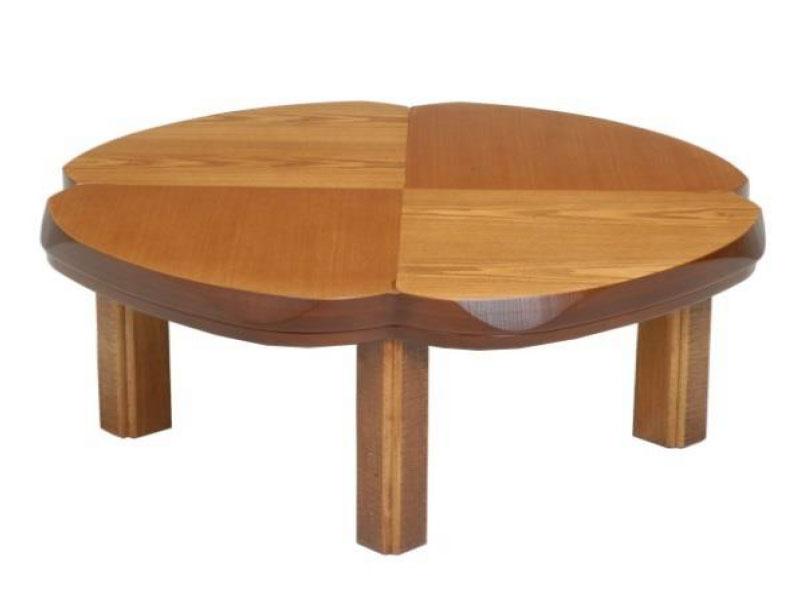 こたつ コタツテーブル クローバー形100 天然杢タモ KURO-BA- ブラウン色、ナチュラル色の2色対応