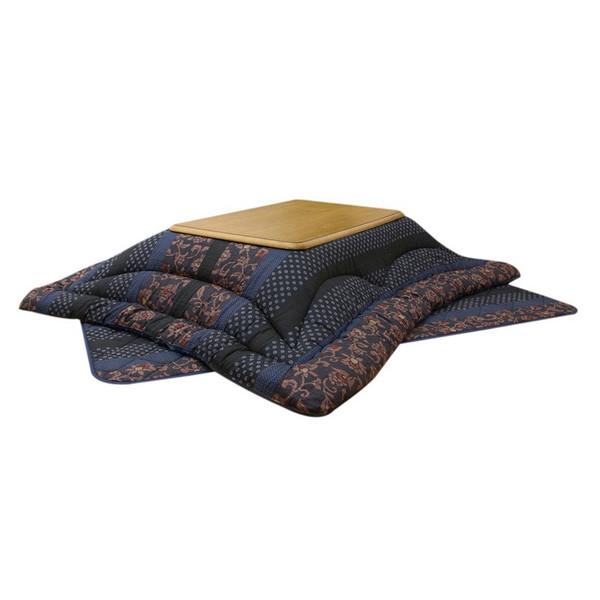 国産大判長方形こたつ布団厚掛敷セット 180巾こたつ用 万葉 ブルー色