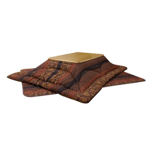 国産大判長方形こたつ布団厚掛敷セット 180巾こたつ用 万葉 ブラウン色
