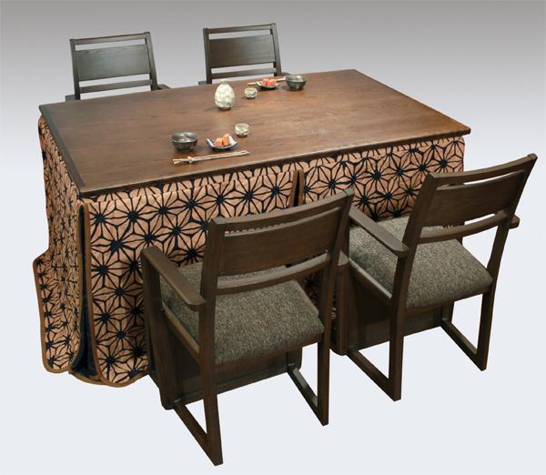 ハイタイプ高脚こたつ ダイニングコタツセット 美崎TL150 椅子4脚、布団付き テーブル150センチ巾長方形