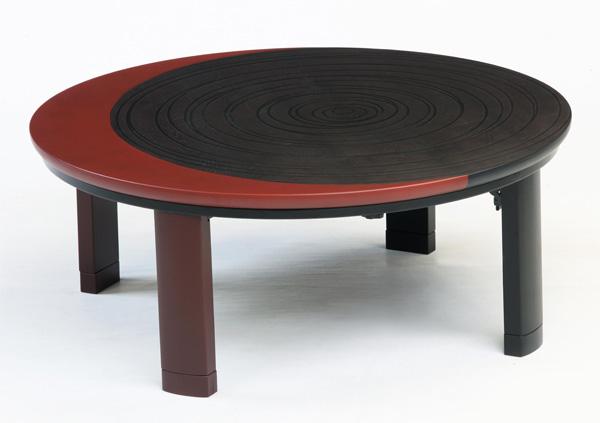 国産円型こたつ コタツテーブル 天然杢タモ 折れ足100センチ丸 モデン
