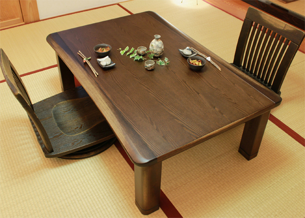 国産コタツ120幅長方形 ダークブラウン色 木連(もくれん)KR